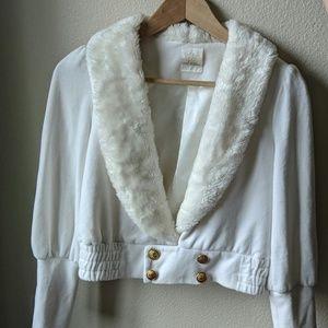 Faux fur collar princess style crop jacket